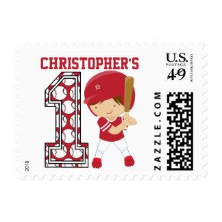 1r rojo personalizado del talud del béisbol del sello postal