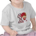 1r Rojo y blanco del talud del béisbol del Camisetas