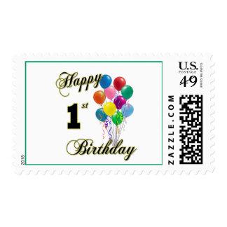 1r sello feliz de los E.E.U.U. del cumpleaños