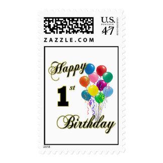 1r sello feliz del cumpleaños