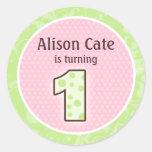 1r sello personalizado del cumpleaños etiqueta