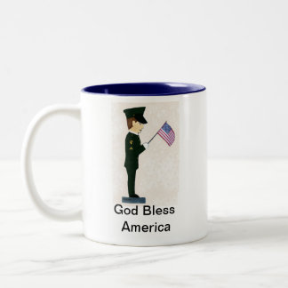 1r Soldado-Dios de la caballería bendice América Tazas