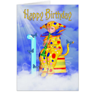 1r Tarjeta de cumpleaños - pequeño payaso lindo de