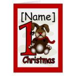 1r Tarjeta de felicitación del conejito del navida