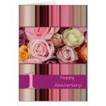 1r Tarjeta del aniversario de boda - raya en color