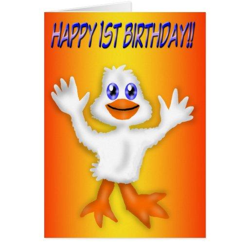 1r Tarjeta del pato del cumpleaños