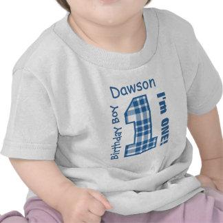 1r TELA ESCOCESA del muchacho del cumpleaños un no Camiseta