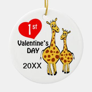 1r Tema de la jirafa del día de San Valentín Adorno Navideño Redondo De Cerámica