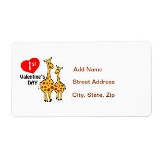 1r Tema de la jirafa del día de San Valentín Etiquetas De Envío