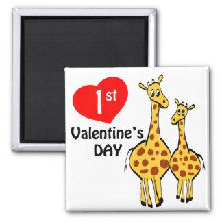 1r Tema de la jirafa del día de San Valentín Imán Cuadrado