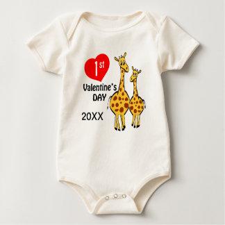 1r Tema de la jirafa del día de San Valentín Mamelucos De Bebé