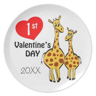1r Tema de la jirafa del día de San Valentín Platos