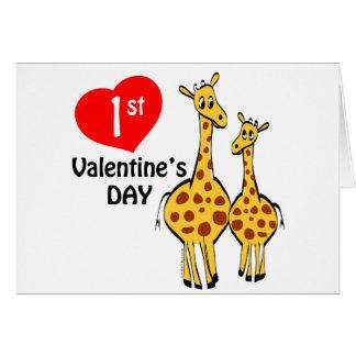 1r Tema de la jirafa del día de San Valentín Tarjetas