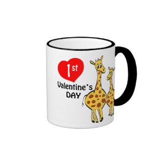 1r Tema de la jirafa del día de San Valentín Taza De Dos Colores