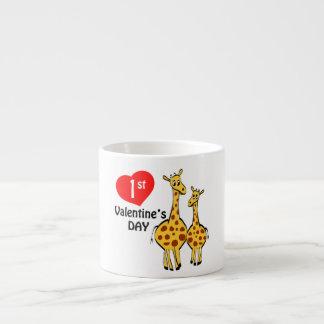 1r Tema de la jirafa del día de San Valentín Taza Espresso