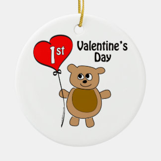 1r tema del oso del el día de San Valentín de Adorno Navideño Redondo De Cerámica