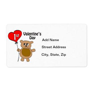 1r tema del oso del el día de San Valentín de Baby Etiquetas De Envío