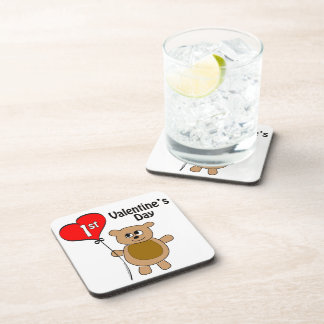 1r tema del oso del el día de San Valentín de Baby Posavasos De Bebidas