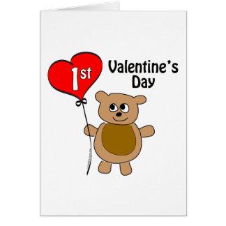 1r tema del oso del el día de San Valentín de Baby Tarjeta De Felicitación