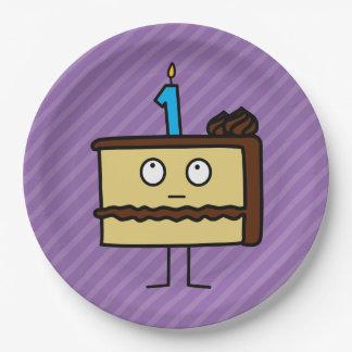 1r Torta de cumpleaños con las velas Platos De Papel