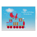 1r tren feliz del cumpleaños tarjeta de felicitación