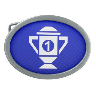1r trofeo del lugar del azul hebillas de cinturón ovales