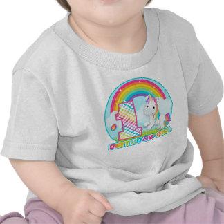 1r Unicornio del arco iris del cumpleaños - chica Camisetas