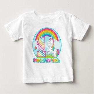 1r Unicornio del arco iris del cumpleaños - chica Playera De Bebé
