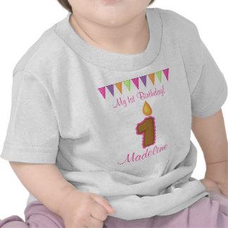 1r Vela del rosa de la camisa del cumpleaños