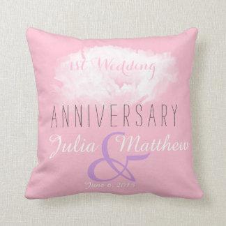 1ra almohada del personalizado del aniversario de