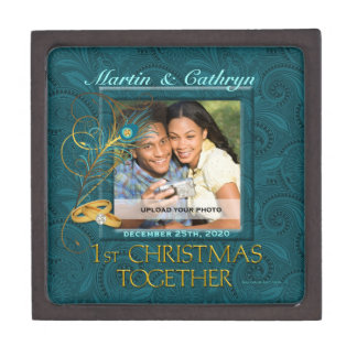 1ra caja de regalo del navidad del pavo real junto caja de joyas de calidad