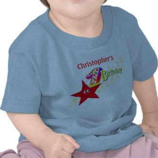 1ra camisa del cumpleaños de la estrella sonriente