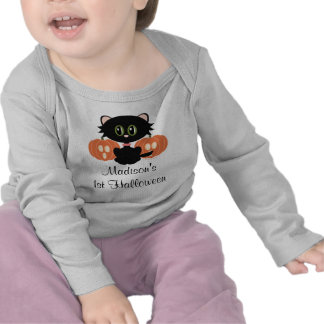 1ra camiseta de Halloween del gato negro