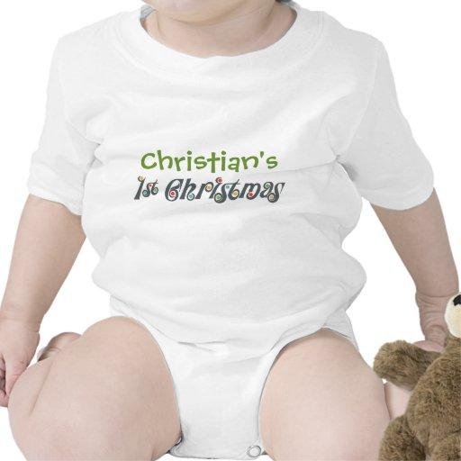 1ra camiseta del bebé del navidad del gris enrroll