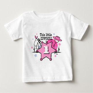 1ra camiseta del cumpleaños de la pequeña vaquera playera