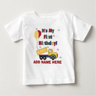 1ra camiseta personalizada del cumpleaños del playera para bebé