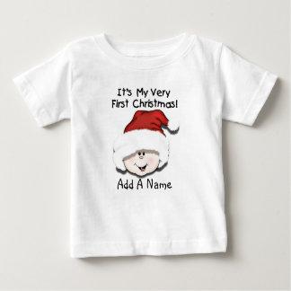 1ra camiseta personalizada del navidad del bebé polera
