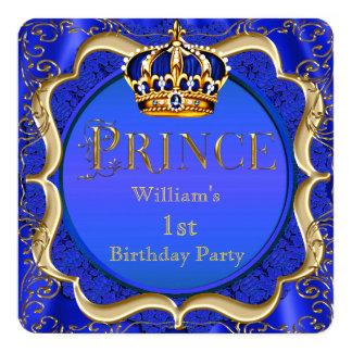"""1ra cumpleaños corona A del oro del azul real del Invitación 5.25"""" X 5.25"""""""