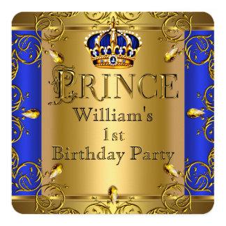 """1ra cumpleaños corona del oro del azul real del invitación 5.25"""" x 5.25"""""""