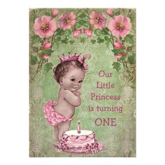 1ra cumpleaños fiesta del vintage de la princesa l anuncio personalizado