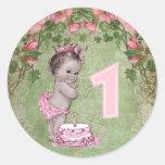 1ra cumpleaños fiesta del vintage de la princesa etiqueta redonda