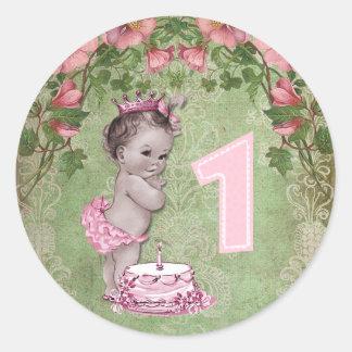 1ra cumpleaños fiesta del vintage de la princesa pegatina redonda