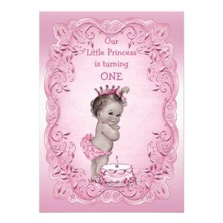 1ra cumpleaños fiesta del vintage de la princesa r invitación