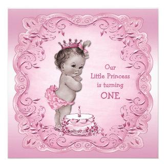 1ra cumpleaños fiesta del vintage de la princesa r anuncio personalizado