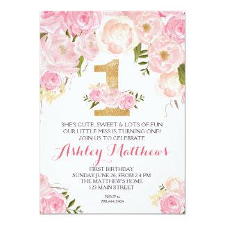 1ra del cumpleaños invitación floral hermosa