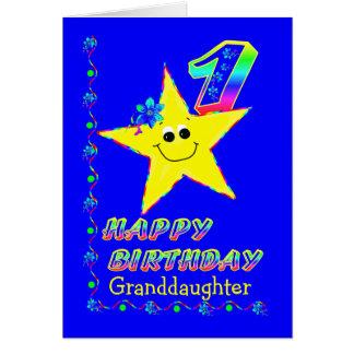 1ra estrella del cumpleaños de la nieta tarjeta de felicitación