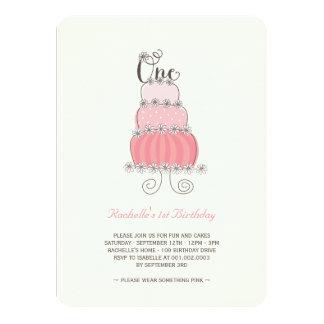 1ra fiesta de cumpleaños de la niña rosada invitación 11,4 x 15,8 cm