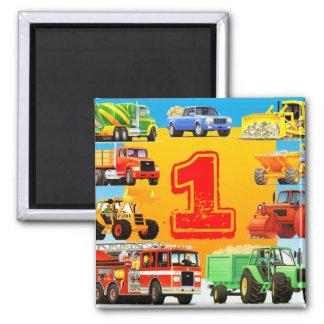 1ra fiesta de cumpleaños de los camiones grandes imán cuadrado