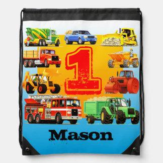 1ra fiesta de cumpleaños de los camiones grandes mochilas