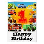 1ra fiesta de cumpleaños de los camiones grandes felicitación